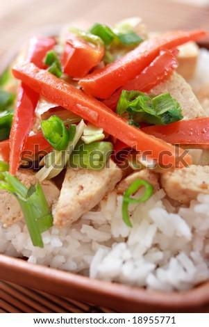 veggie stir fry closeup - stock photo