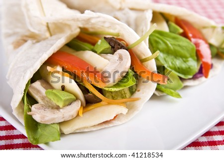 Veggie wrap filled with various vegetables and cheese. Selective focus. - stock photo