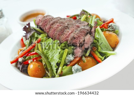 veggy salad with meat on table  close up - stock photo