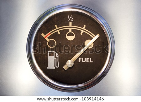 Vehicle fuel gauge showing full - stock photo