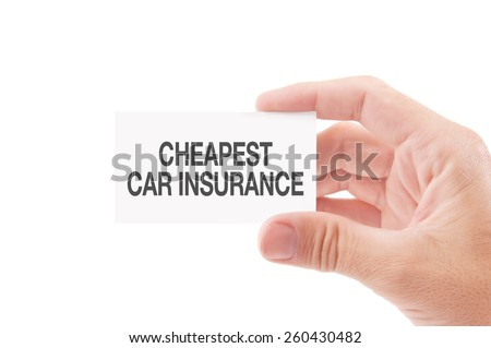 Vehicle Insurance Agent Holding Business Card with Cheapest Car Insurance Policies Title, Isolated on White Background.
