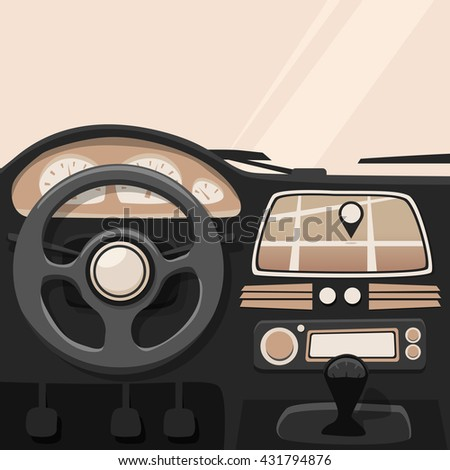 Vehicle interior. Inside car. cartoon illustration. Car poster. Cartoon style. Driver behind the wheel - stock photo