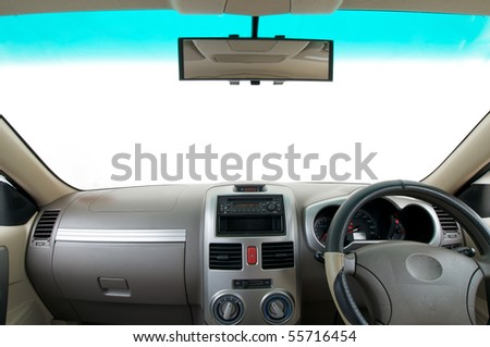 vehicle interior with blank copy space on windshield - stock photo