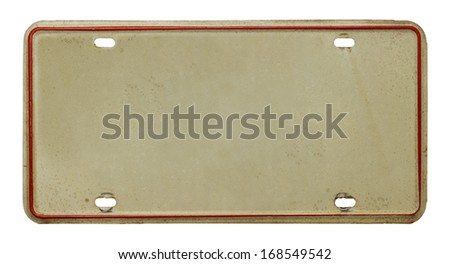 Vehicle License Plate with Copy Space Isolated on White Background. - stock photo