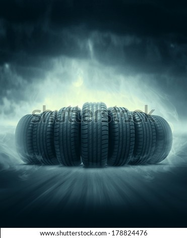 vehicle tire - stock photo