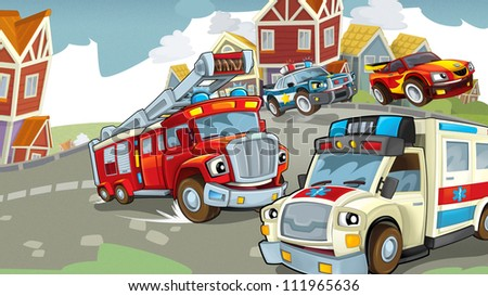 Vehicles on the road - illustration for the children 1 - stock photo