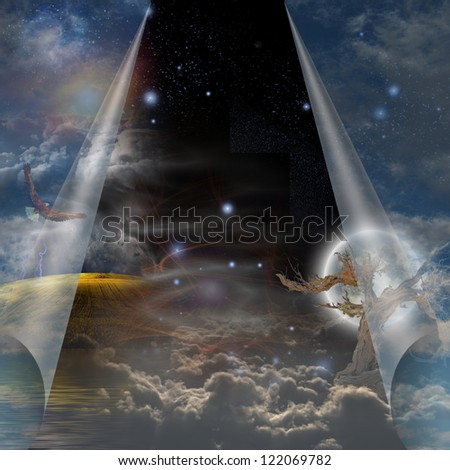Veil of sky pulled open to reveal other - stock photo