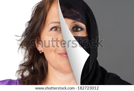Veiling of Muslim women concept, with half the head veiled being peeled off - stock photo