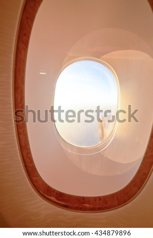 Veiw from cabin of modern jet flight. - stock photo