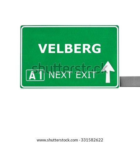 VELBERG road sign isolated on white