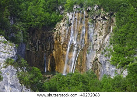 Veliki Slap (Slap-Waterfall) at the northern end of Plitvice Lakes National Park is the tallest in the park at 78 m. Croatia. - stock photo