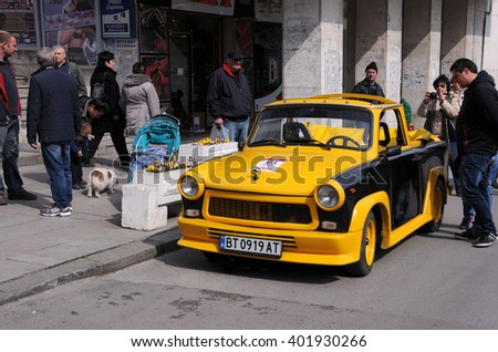 VELIKO TARNOVO, BULGARIA - MARCH 19, 2016: Convertible East German Trabant car in the street of the city - stock photo