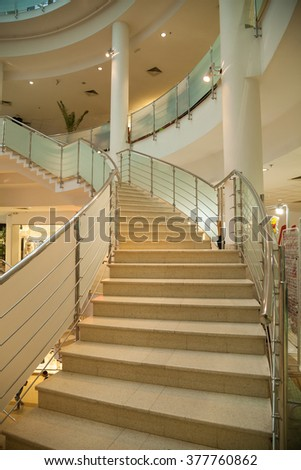 Veliko Tarnovo - February 13: Staircase in large and modern commercial building - Mall on February 13, 2016, Veliko Tarnovo, Bulgaria - vertically
