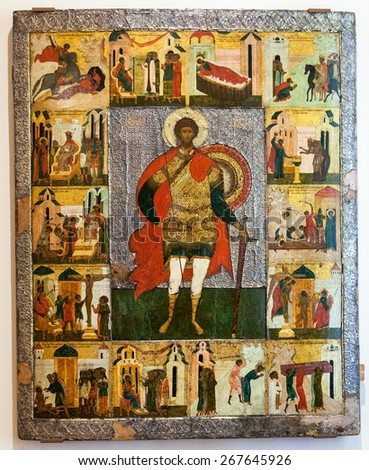 VELIKY  NOVGOROD, RUSSIA - JULY 24, 2014: Antique Russian orthodox icon of St. Theodore the Stratelates with Scenes from his Life painted on wooden board - stock photo