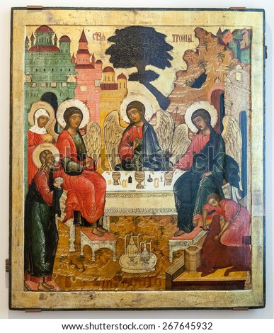 VELIKY  NOVGOROD, RUSSIA - JULY 24, 2014: Antique Russian orthodox icon The Old Testament Trinity painted on wooden board - stock photo