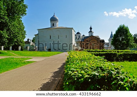 VELIKY NOVGOROD, RUSSIA - JUNE 3, 2016. Panoramic view of churches in Yaroslav Courtyard - architecture landscape
