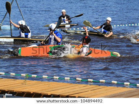VELIKY NOVGOROD, RUSSIA - JUNE 10: The second stage of the Cup of Russia in canoe polo on June 10, 2012 in Velikij Novgorod, Russia