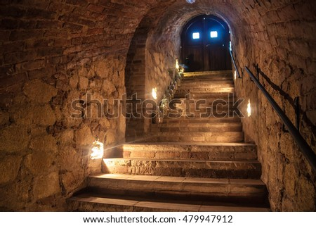 VELKE BILOVICE, CZECH REPUBLIC - MAY 10, 2014: Wine cellar in Valtice, southern Moravia, Czech Republic