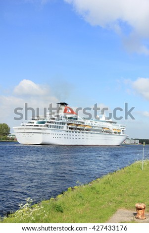 Velsen, The Netherlands - May 27, 2015: Balmoral. The Balmoral is a cruise ship owned and operated by Fred. Olsen Cruise Lines.