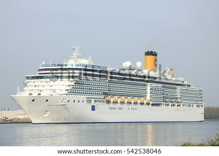 Velsen, The Netherlands - May 10 2015: Costa Luminosa. Costa Luminosa is a cruise ship, owned and operated by Costa Crociere, built by Fincantieri Marghera shipyard in 2009. It's 292 m (958 ft) long.