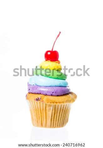 Velvet cupcakes isolate on over white background - stock photo