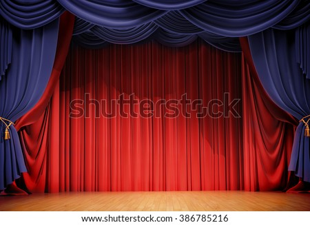 velvet curtains and wooden stage floor - stock photo