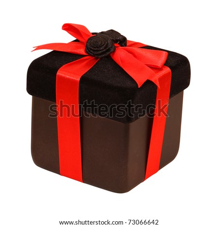 Velvet gift box with red ribbon isolated with clipping path included - stock photo