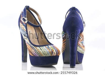 velvet high-heel with stripes and & ankle strap - stock photo