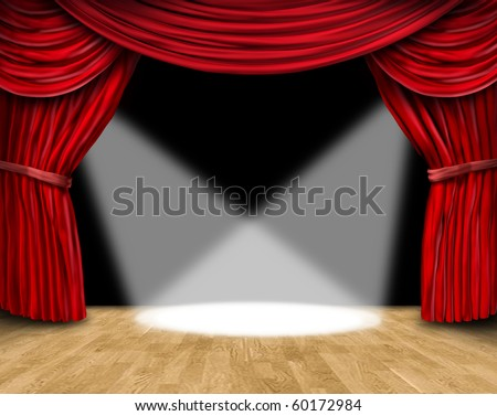 velvet red curtain frame on black background with spot lights