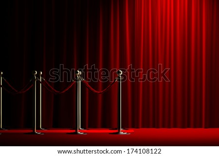 Velvet red rope barrier with a shining curtain on the right - stock photo