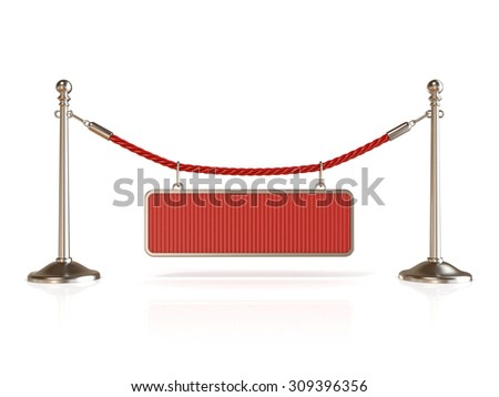 Velvet rope barrier, with BLANK sign. 3D render isolated on white background - stock photo