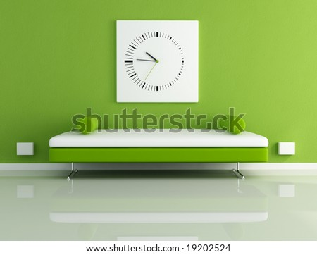 velvet sofa in a modern living room - digital artwork - stock photo