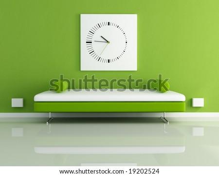 velvet sofa in a modern living room - digital artwork - stock photo