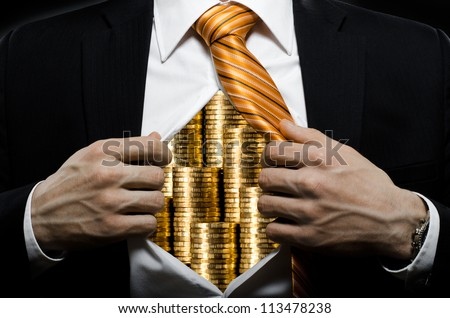 venality businessman or banker  in black costume throw open one's shirt packed heap gold money
