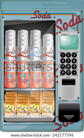 Vending Machine with soft drinks.