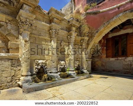 venetian arch in rethimno city (Crete-Greece) - stock photo