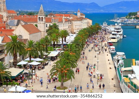 Venetian architecture of the old town of Trogir near the Adriatic sea, Croatia - stock photo