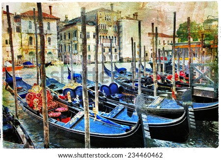 Venetian canals and gondolas. artwork in painting style - stock photo