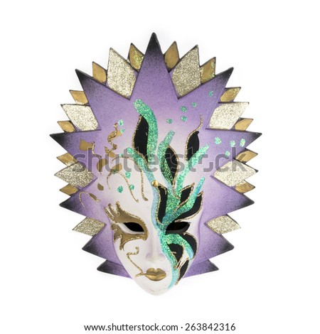 Venetian carnival mask isolated on white - stock photo