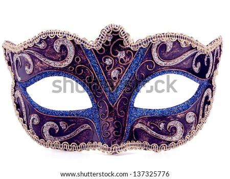 Venetian carnival mask isolated on white background cutout - stock photo