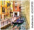 venetian channels - artwork in retro style - stock vector