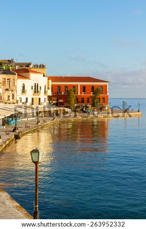 venetian embankment of Chania old town, Crete, Greece - stock photo