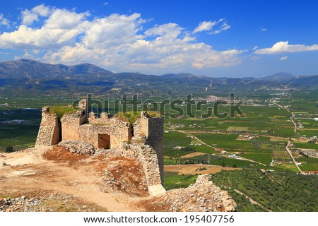 Venetian fortress built on top of a hill near Argos, Greece - stock photo