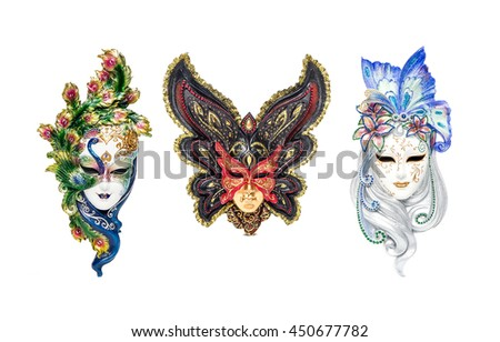 Venetian full-face masks for Carnival in street shop of Venice, Italy - stock photo