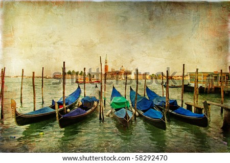Venetian gondolas - artwork in painting style - stock photo