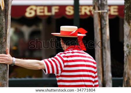 Venetian Gondolier - stock photo