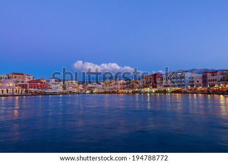 venetian habour of Chania with historical houses at night, Crete, Greece - stock photo