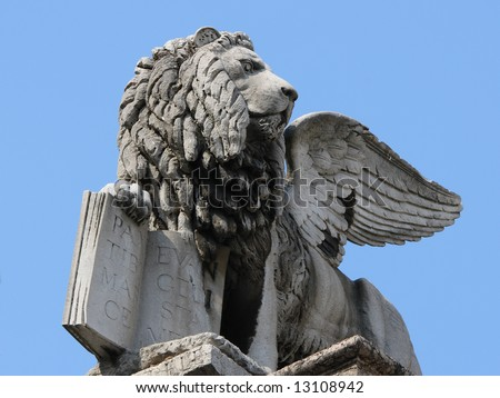 Venetian Lion on the Piazza Erbe in Verona, Italy