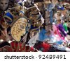 Venetian Mask Beautiful mask of the traditional Venice Carnival in a street vendor stall - stock photo