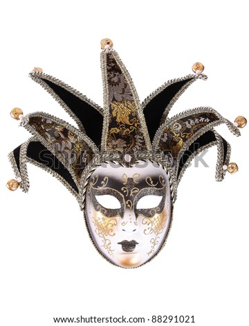 Venetian mask isolated on white - stock photo